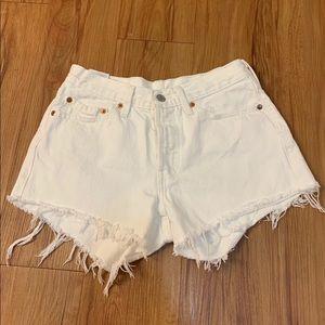 LEVI'S 501 White Raw Hem High Waisted Jean Shorts